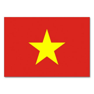 Patriotic table card with Flag of Vietnam