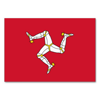 Patriotic table card with Isle of Man Flag, UK