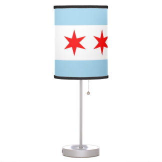 Patriotic table lamp with Flag of Chicago