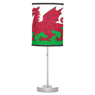 Patriotic table lamp with Flag of Wales