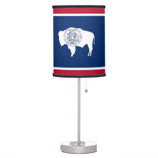Patriotic table lamp with Flag of Wyoming