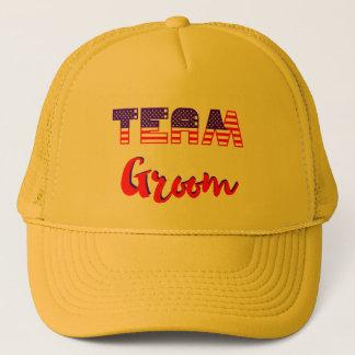 patriotic team groom dark yellow hat us flag
