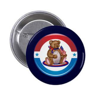 Patriotic Teddy Bear 2 Inch Round Button