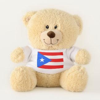 Patriotic Teddy Bear with flag of Puerto Rico, USA
