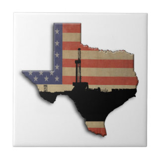 Patriotic Texas Oil Drilling Rig Ceramic Tiles