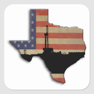 Patriotic Texas Oil Drilling Rig Square Sticker
