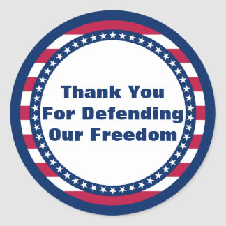 Patriotic Thank You For Defending Our Freedom Round Sticker