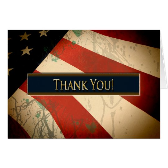 PATRIOTIC - THANK YOU - WEATHERED FLAG CARD