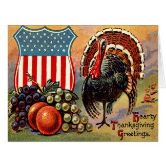 Patriotic Thanksgiving Turkey Fruit Card