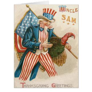 Patriotic Thanksgiving Uncle Sam Turkey US Flag Card