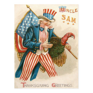 Patriotic Thanksgiving Uncle Sam Turkey US Flag Postcard
