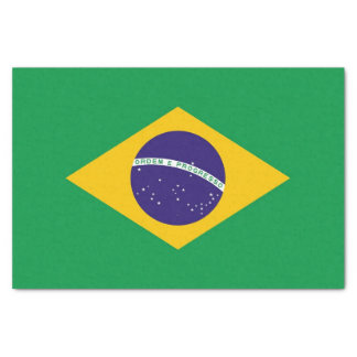 Patriotic tissue paper with flag of Brazil