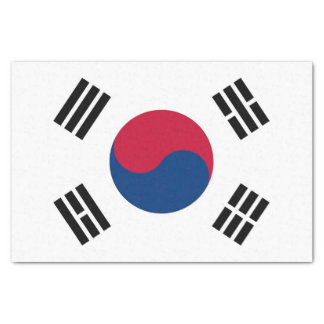 Patriotic tissue paper with flag of South Korea