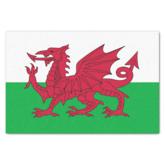 Patriotic tissue paper with flag of Wales