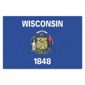 Patriotic tissue paper with flag of Wisconsin, USA