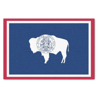 Patriotic tissue paper with flag of Wyoming, USA