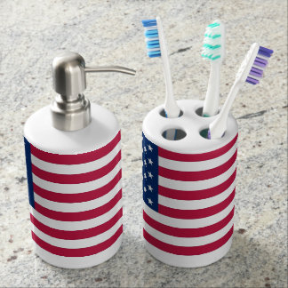 Patriotic toothbrush holder with Flag of USA