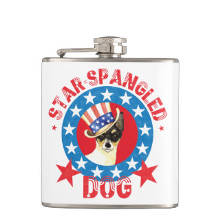 Patriotic Toy Fox Terrier Hip Flask