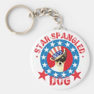 Patriotic Toy Fox Terrier Keychain