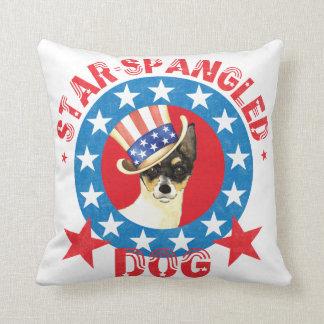Patriotic Toy Fox Terrier Throw Pillow