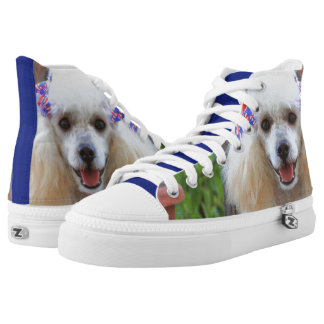 Patriotic toy poodle high top tennis shoes