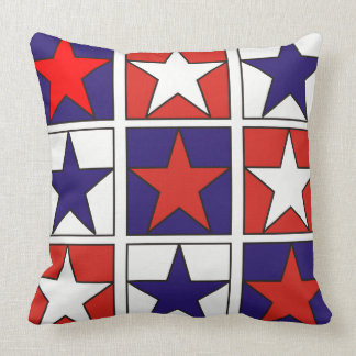 Patriotic Tricolor Stars Throw Pillow
