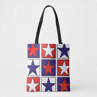 Patriotic Tricolor Stars Tote Bag