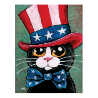 Patriotic Tuxedo Cat   4th of July Postcard