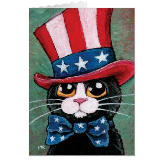 Patriotic Tuxedo Cat | Happy 4th of July Card