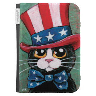 Patriotic Tuxedo Cat Painting Case For Kindle
