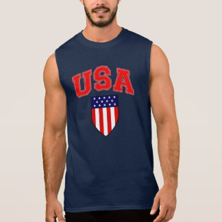 Patriotic U.S.A American Flag Shield Sleeveless Shirt