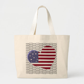 Patriotic U.S.A with Heart Flag Large Tote Bag