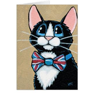 Patriotic UK Tuxedo Cat wearing Bow Tie Painting Card