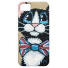 Patriotic UK Tuxedo Cat wearing Bow Tie Painting iPhone 5 Case
