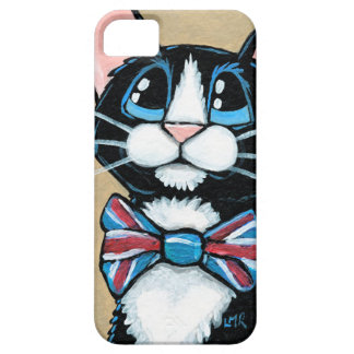 Patriotic UK Tuxedo Cat wearing Bow Tie Painting iPhone 5 Cover