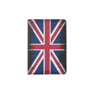 Patriotic UK Union Flag in Grunge style Passport Holder