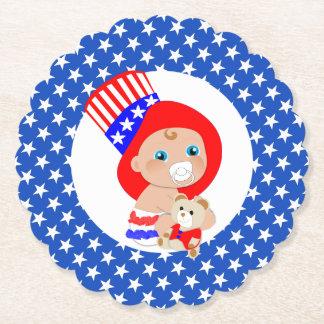 Patriotic Uncle Sam American Baby Paper Coaster