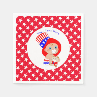 Patriotic Uncle Sam American Baby Personalized Paper Napkins