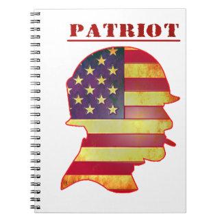 Patriotic US American Flag Military Helmet Notebooks