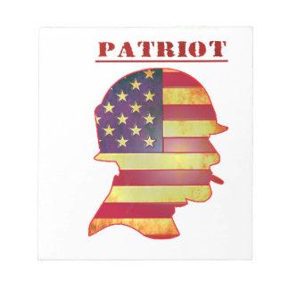 Patriotic US American Flag Military Helmet Notepad