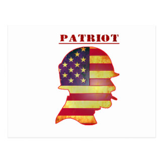 Patriotic US American Flag Military Helmet Postcard