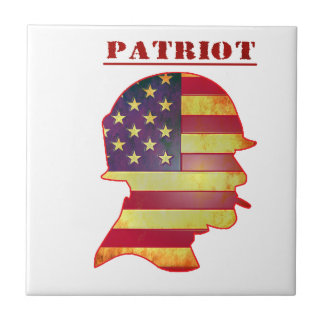 Patriotic US American Flag Military Helmet Tile