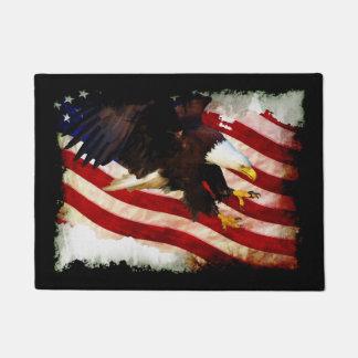 Patriotic US Flag & Bald Eagle Doormat