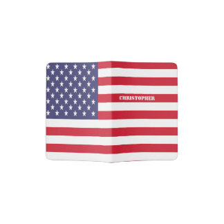 Patriotic USA American Flag Personalized Passport Holder