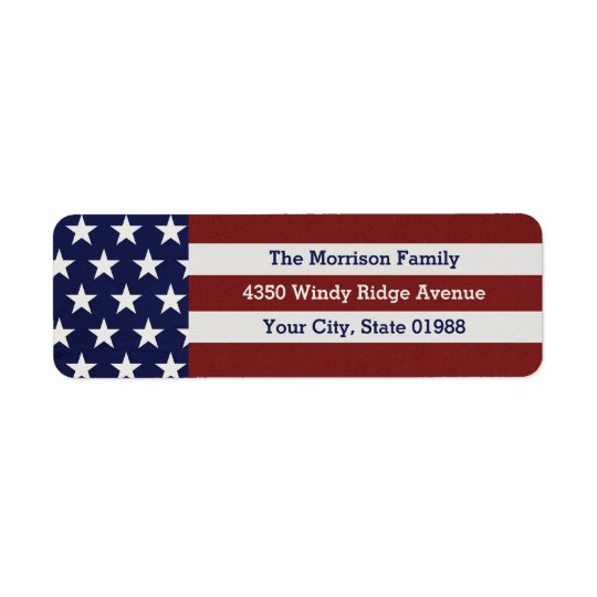 Patriotic USA American Flag Stars & Stripes Return Address Label