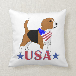 Patriotic USA Beagle Red White Blue Throw Pillow
