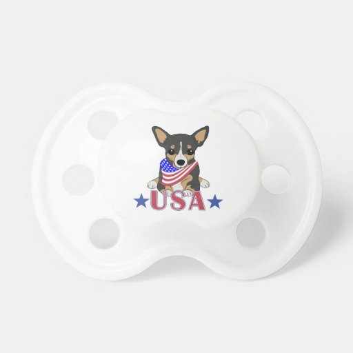 Patriotic USA Chihuahua 2 Baby Pacifier