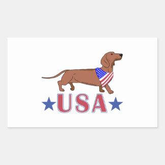 Patriotic USA Dachshund Rectangular Sticker