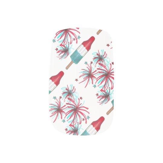 Patriotic USA Fireworks July 4th Rocket Pop Nails Fingernail Decal