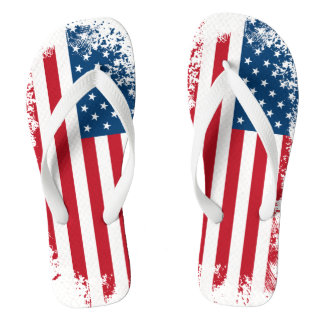 Patriotic USA Flag Adult Flip Flops